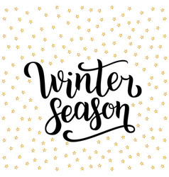 Winter season hand drawn lettering isolated on vector