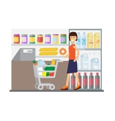 Woman in supermarket Flat design vector image