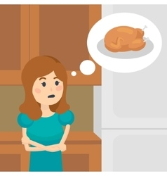 Woman on a diet dreaming tasty food vector