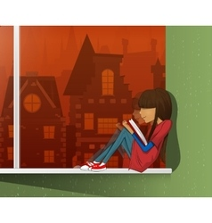 Young beautiful girl read book vector image