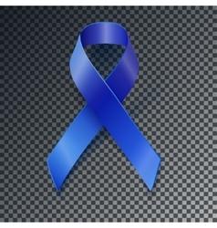 Awareness blue ribbon transparent shadow vector image vector image