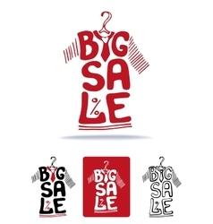 Big Sale lettering on tee shirt shape on hanger vector image vector image