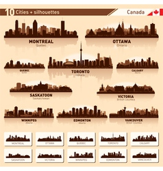 City skyline set Canada silhouettes vector image vector image