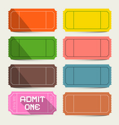 colorful tickets set admit one ticket vector image vector image