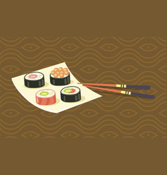 delicious japanese sushi rolls on square plate vector image vector image
