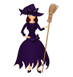 halloween holiday cute girl witch with a broom vector image vector image