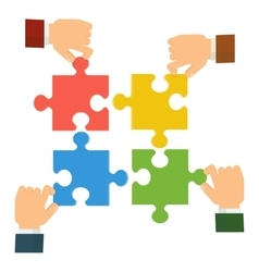 hands collect puzzle vector image vector image