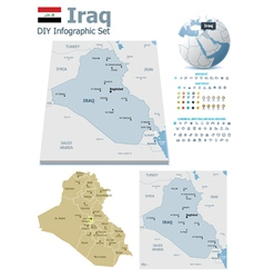 Iraq maps with markers vector image vector image