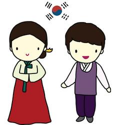 Korea Traditional Dress vector image vector image