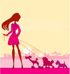 Pretty girl walking the dogs vector image