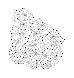 uruguay map of polygonal mosaic lines network ray vector image