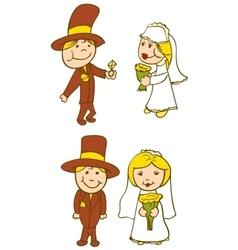 Wedding Couple On White Background vector image