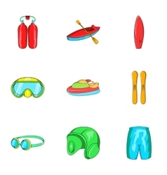 Active water sport icons set cartoon style vector image vector image