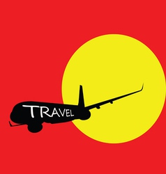 airplane with travel color vector image vector image