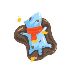 Blue Jelly Zombie Dog Monster Rolling In Puddle Of vector image