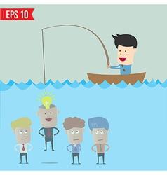 Cartoon businessman catching idea in the sea - vector image vector image