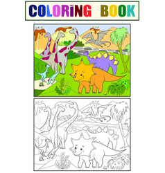 cartoon coloring for children dinosaurs in nature vector image vector image