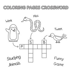funny animals coloring book crossword vector image