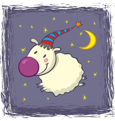sheep in a cap vector image vector image