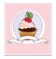 muffin with Cherry vector image