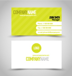 Business card set template bright green and white vector