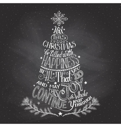 Christmas tree hand-lettering with chalk vector image vector image