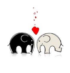Cute elephants sketch for your design vector image