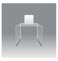 Glass rack shelf podium 3d isometric realistic vector image