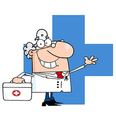 Male Doctor With Phone Ringing Over A Blue Cross vector image