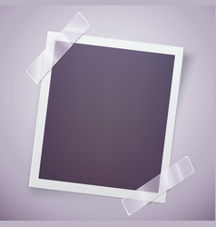 retro photo frame attached with adhesive tape vector image vector image