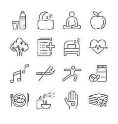 wellness life line icon set vector image