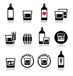 Whisky or Whiskey alcohol icons set vector image vector image