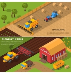 Agricultural Machines Isometric Banner Set vector
