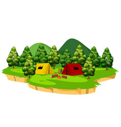 An isolated campsite scene vector
