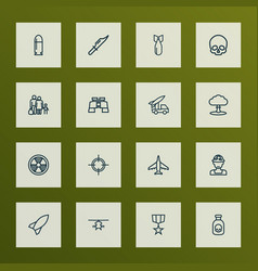 army icons line style set with order officer vector image vector image