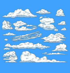 asbtract sketch blue sky clouds icon vector image