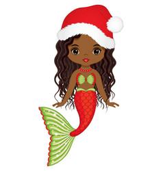 Beautiful christmas african american mermaid vector