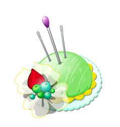 Beautiful pincushion with needles and pins vector