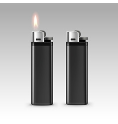 Black Plastic Lighters with Flame on Background vector image