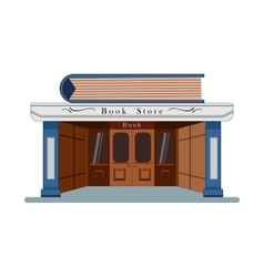 Bookstore with a large book in flat rostyle vector
