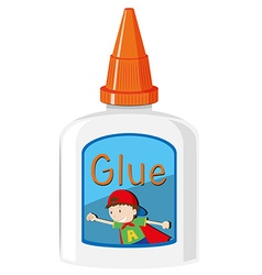 Bottle of glue with orange cap vector