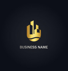 building cityscape real estate business gold logo vector image