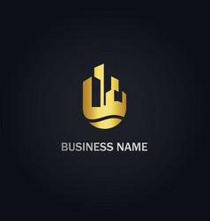 Building cityscape real estate business gold logo vector