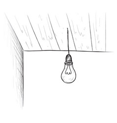 Bulb background minimalistic room interior with vector