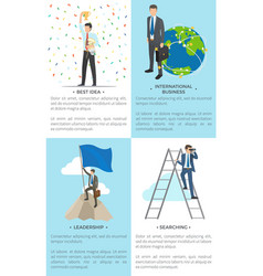 Business-related collection of posters with text vector