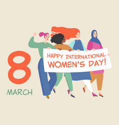 card with a group women holding a big banner vector image