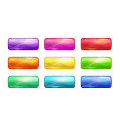 cartoon colorful glossy long buttons set vector image