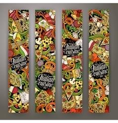 Cartoon hand-drawn doodles italian food banners vector