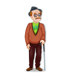 cartoon of an old man character vector image