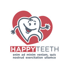 cartoon tooth logo template for child dentistry or vector image